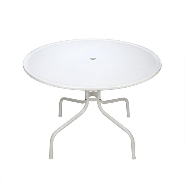 "39.25"" White Retro Metal Tulip Outdoor Dining Table"