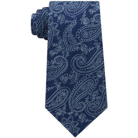 Michael Kors Mens Dancing Halo Paisley Self-tied Necktie, blue, One Size - One Size