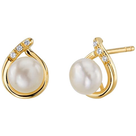 14K Yellow Gold Freshwater Pearl Round Button Shape Stud Earrings
