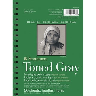 Strathmore 400 Series Toned Gray Pad, 5-1/2 x 8-1/2 Inch, 50 Sheets