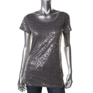 DKNY Womens Sequined Short Sleeves Pullover Top - L