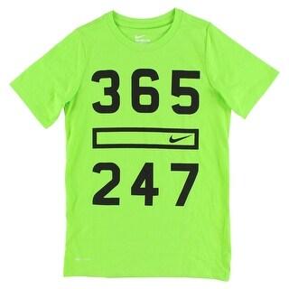 Nike Boys Three Six Five 24/7 T Shirt Green - Green/Black - S