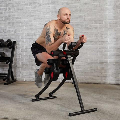 ZELUS Folding Ab Crunch Coaster Home Gym Equipment w Digital Display