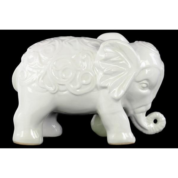 Standing Elephant Figurine with Embossed Swirl Design White - Benzara