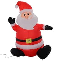 Costway 4Ft Airblown Inflatable Christmas Xmas Santa Claus Decoration Lawn Yard Outdoor - RED