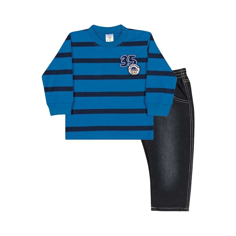 Baby Boy Outfit Long Sleeve Shirt and Jeans Set Pulla Bulla Sizes 3-12 Months - Thumbnail 0