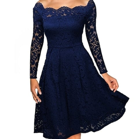Women's Long Sleeve Lace Strapless Strapless Dress