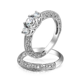 Bling Jewelry Vintage Style 3 Stone Round CZ Wedding Anniversary Ring Set 925 Sterling Silver