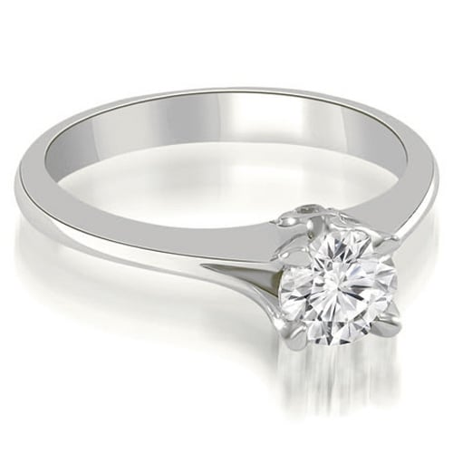 0.77 cttw. 14K White Gold Split Shank Round Solitaire Diamond Engagement Ring