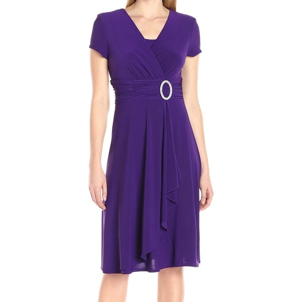 R&M Richards Purple Womens Size 4 Embellished Draped Sheath Dress
