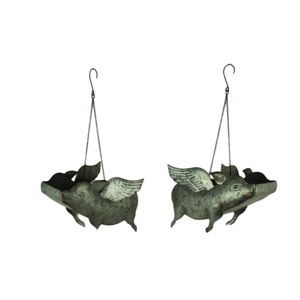 Galvanized Metal Flying Pig Hanging Planters Set of 2 - 8.5 X 14 X 9 inches