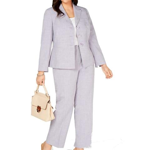 Le Suit Women's Pant Suit Lavender Purple Size 20W Plus Button Front