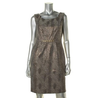 Ellen Tracy Womens Petites Metallic Snakeskin Casual Dress - 8P