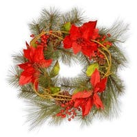 Red Poinsettia Artificial Christmas Wreath - 24-Inch, Unlit - green