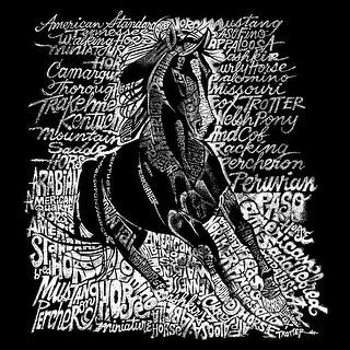 LA Pop Art Girl's Word Art Long Sleeve - POPULAR HORSE BREEDS - Red, S