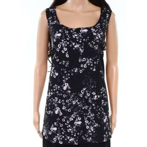 Marc York Black Womens Size 1X Floral Cutout Activewear Tank Top
