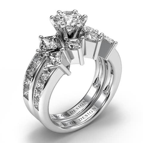 Amcor Design 14KT Gold 3.10 CT Channel Round & Princess Cut Diamond Matching Bridal Set - White H-I