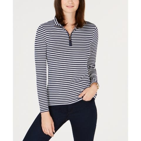 Charter Club Blue Women's Size Medium M Striped Polo Knit Top
