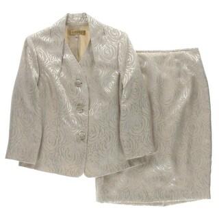 Kasper Womens Skirt Suit Jacquard Collar - 6