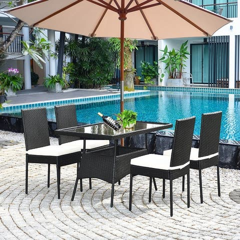 5PCS Patio Dining Set Outdoor Rattan Table and Chairs