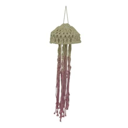 Pink and Natural Cotton Macrame Hanging Jellyfish