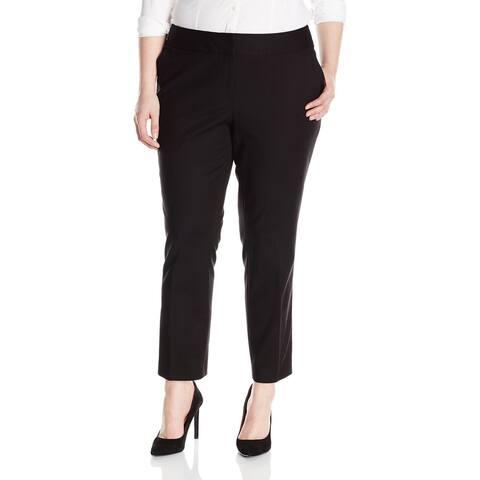 Vince Camuto Women's Plus Size Front Zip Ankle Pant, Rich Black SIZE 22W