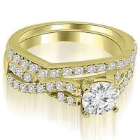1.00 CT.TW Twisted Split Shank Round Cut Diamond Bridal Set - White H-I