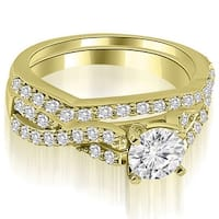 1.65 CT.TW Twisted Split Shank Round Cut Diamond Bridal Set - White H-I