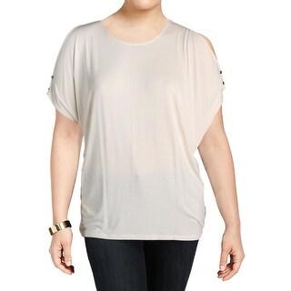 Lauren Ralph Lauren Womens Plus Lutreu Casual Top Knit Cold Shoulder