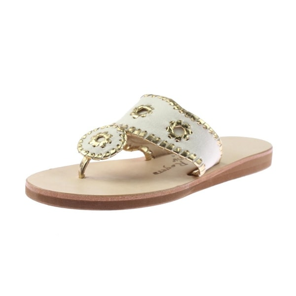 bd3c8f8295f Jack Rogers Womens Boating Jacks Thong Sandals Canvas Whip Stitch - 9  medium (b