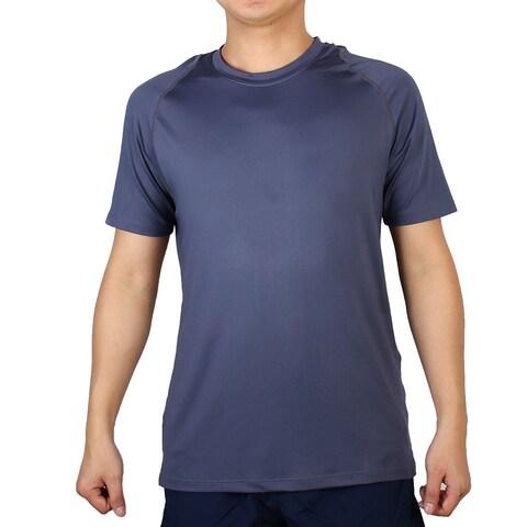 Adult Polyester Short Sleeve Clothes Badminton Tennis Sports T-shirt Navy Blue M