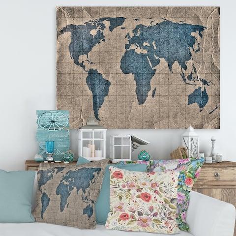 Designart 'Ancient Map of The World I' Rustic Canvas Wall Art Print