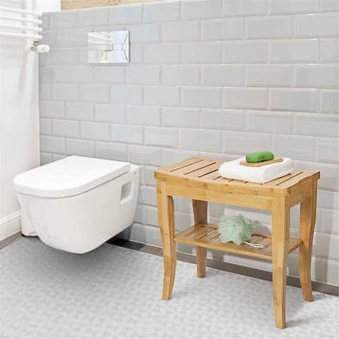 Bamboo Shower Bench Shower Seat Shower Stool with Storage Shelf, Shower Spa Chair for Indoor or Outdoor