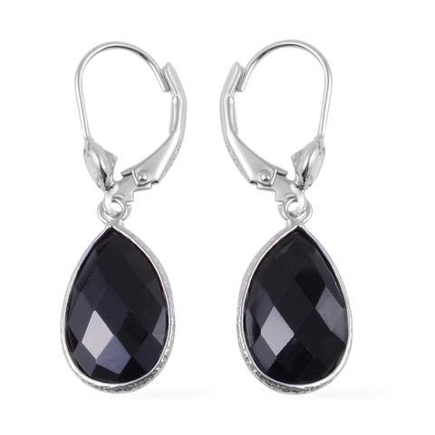 Shop LC 925 Silver Black Spinel White Topaz Solitaire Earrings Ct 11 - Medium