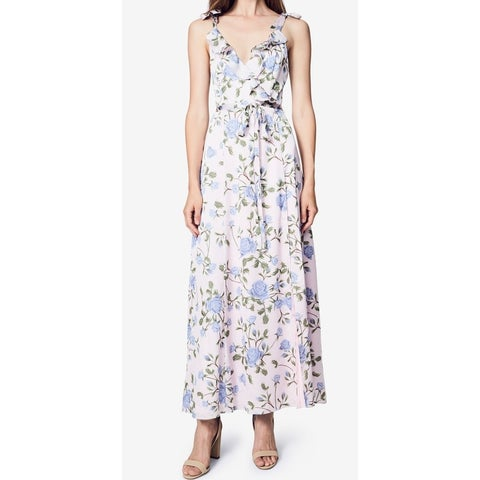 Fame And Parners Womens Floral-Print Ruffle Wrap Dress