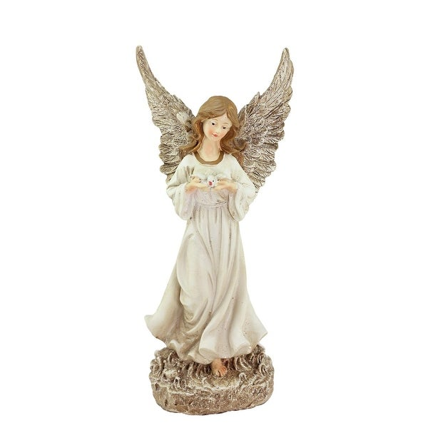 "12.5"" Heavenly Gardens Glittered Ivory & Champagne Gold Serene Angel w/ Dove Outdoor Patio Garden Statue"