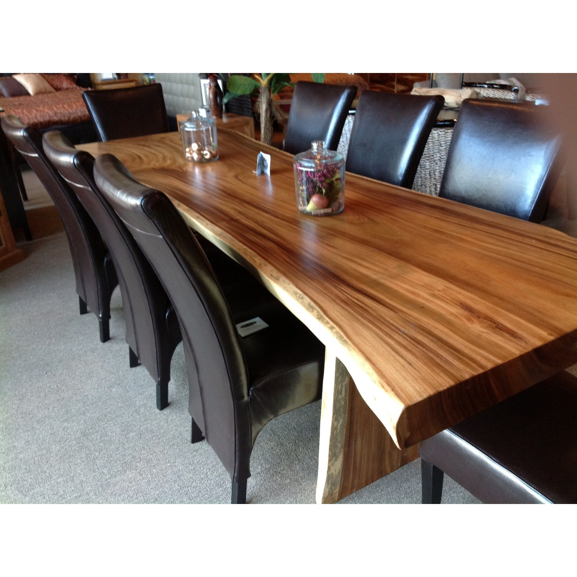 Chic Teak Suar Live Edge Unique Slab Dining Table 118 Long Overstock 31872121