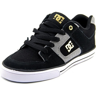 DC Shoes Pure XE Youth  Round Toe Leather Black Skate Shoe