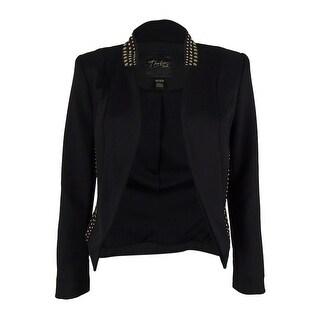 Thalia Sodi Women's Embellished Scuba Blazer - Deep Black - xs
