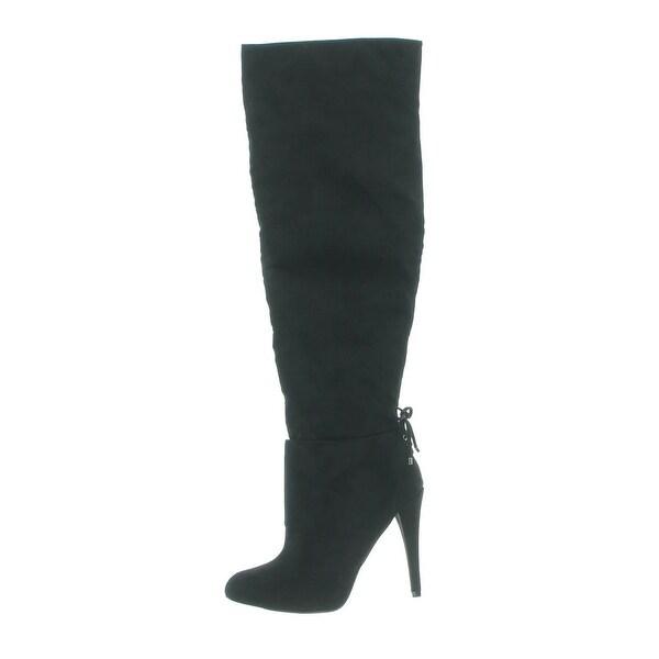 Nina Womens Keely Over-The-Knee Boots Suede Pointed Toe Black 5 Medium (B,M) - 5 medium (b,m)