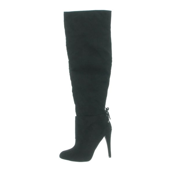 Nina Womens Keely Over-The-Knee Boots Suede Pointed Toe Black 7.5 Medium (B,M) - 7.5 medium (b,m)