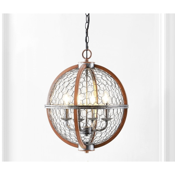 """Gaines 16"""" 4-Light Adjustable Iron Rustic Industrial LED Pendant, Brown/Silver by JONATHAN Y. Opens flyout."""