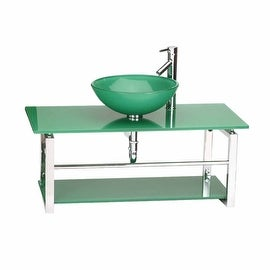 Glass Bathroom Console Sink Wall Mount Tempered Green