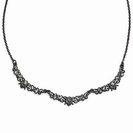 Black IP Downton Abbey Glass Filigree Link Necklace - 16in