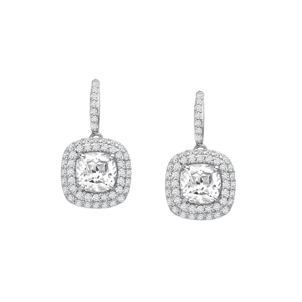 Drop Earrings with 7 3/4 ct Swarovski Elements Zirconia in Sterling Silver - White