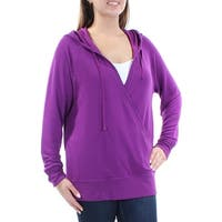 Womens Purple Long Sleeve V Neck Casual Faux Wrap Sweater  Size  M