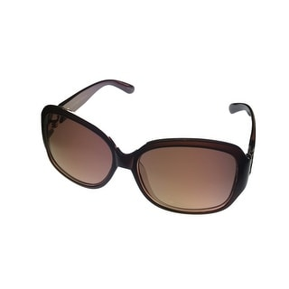 Ellen Tracy Sunglass 539 1 Brown Fashion Rectangle Plastic, Gradient Brown Lens - Medium