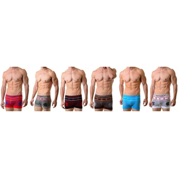 Men's Seamless Boxer Briefs Classic Shorts Underwear  6-Pack Pattern Soccers(One Size)
