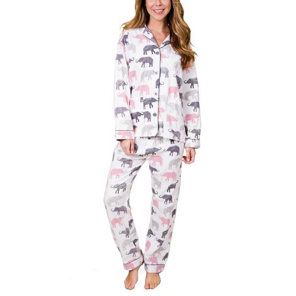 9bb9c11fab Shop PJ Salvage Women s Elephant Walk Flannel Pajama Set - Free Shipping  Today - Overstock - 18608536