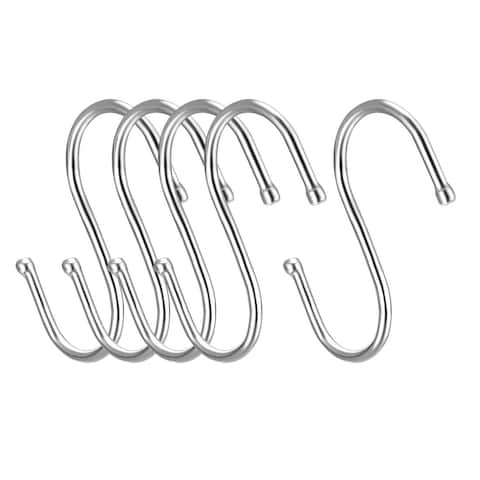 "Metal S Hooks 3.15"" S Shaped Hook Hangers for Kitchen Multiple Uses 5pcs - White - 3Pack"